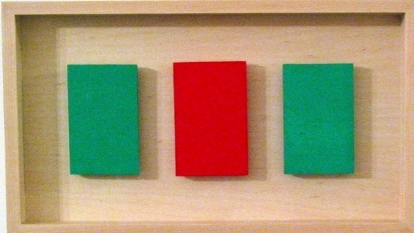 "Framed Green Red Green, 3 panels, each 4-1/4"" x 2-3/4"" by Anne-Marie Levine"