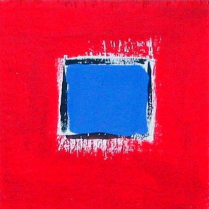 "Red with Blue, 3-1/2"" x 3-1/2"" by Anne-Marie Levine"