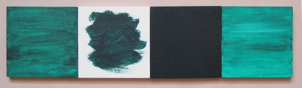 "Green, White, Black, Green, 4 panels, each 3-1/2"" x 3-1/2"" by Anne-Marie Levine"